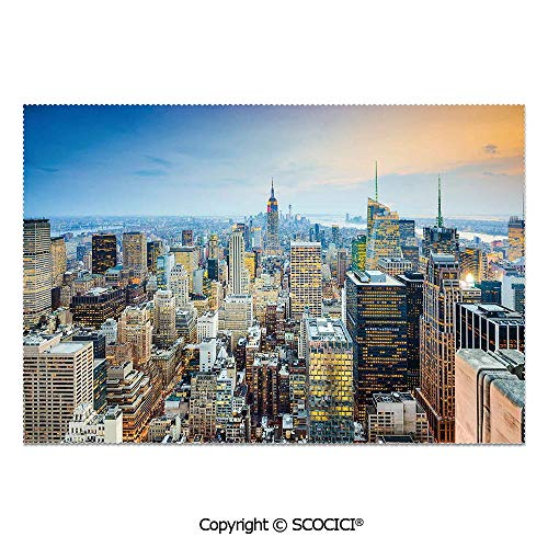 SCOCICI Set of 6 Printed Dinner Placemats Washable Fabric Placemats New York City Aerial with Skyscrapers Manhattan Urban Architecture Panorama for Dining Room Kitchen Table -