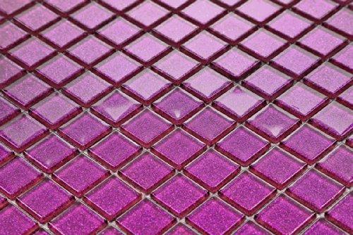 Qm vetro mosaico piastrelle opaca in lilla con strass costume