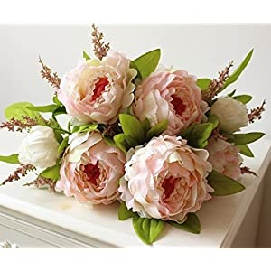 Hilingo 1 Bouquet Fake Peony Artificial Flower Home Wedding Decor Pink (With Free Gift) 4