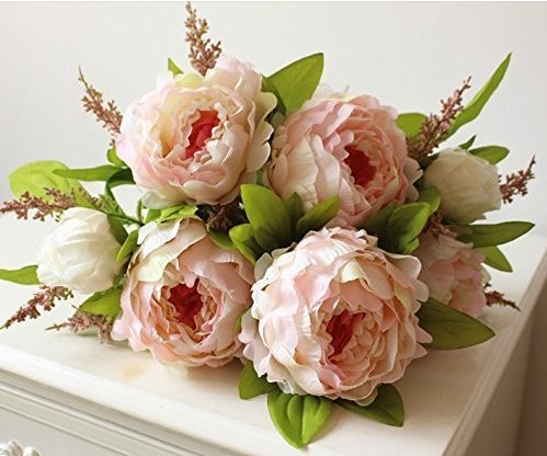 Hilingo-1-Bouquet-Fake-Peony-Artificial-Flower-Home-Wedding-Decor-Pink-With-Free-Gift