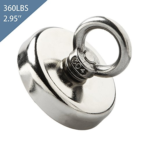 Whectin Fishing Magnets Strong Neodymium 360LBS Heavy Duty with Countersunk Hole Eyebolt for River,Pond,Lake,Warehouse,Garage,Diameter 2.95 inch(75 mm)