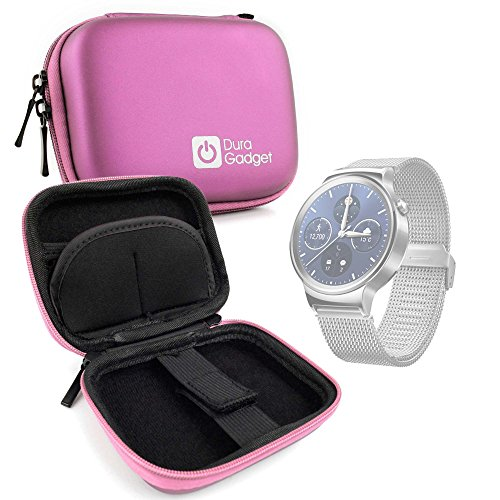 DURAGADGET Pink Hard EVA Shell Case with Carabiner Clip & Twin Zips for The Huawei Watch 2 & Huawei Watch 2 (2018 Edition) by DURAGADGET