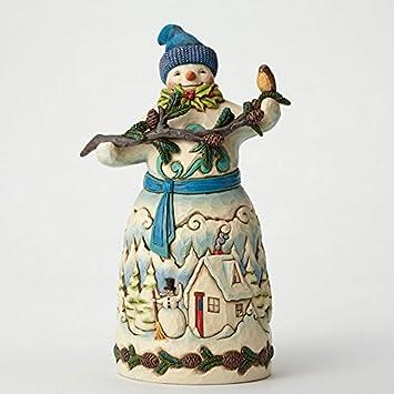 Jim Shore for Enesco Heartwood Creek Snowman with Pincone Garland Figurine, 9.25