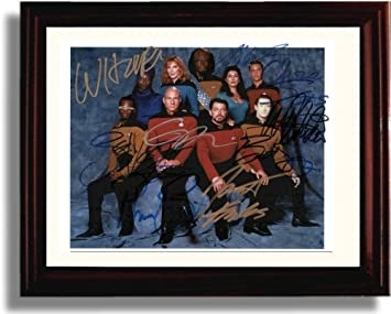 Framed Cast of Star Trek The Next Generation Autograph Replica Print – Star Trek The Next Generation