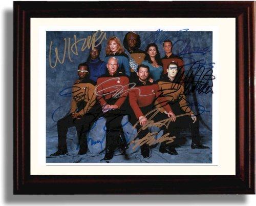 (Framed Cast of Star Trek The Next Generation Autograph Replica Print - Star Trek The Next Generation)