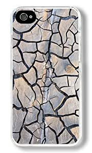 Crack Texture Custom iPhone 4S Case Back Cover, Snap-on Shell Case Polycarbonate PC Plastic Hard Case Transparent