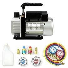 HVAC Single-stage Rotary Vane Vacuum Pump (3CFM, 1/4HP) & A/C Refrigeration Manifold Gauge R134,R12,R22,R502, with case