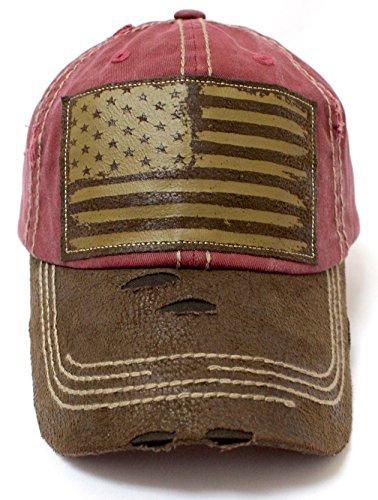 CAPS 'N VINTAGE New!! Rose Pink/Tan Suede Bill American Flag Vintage Baseball Hat