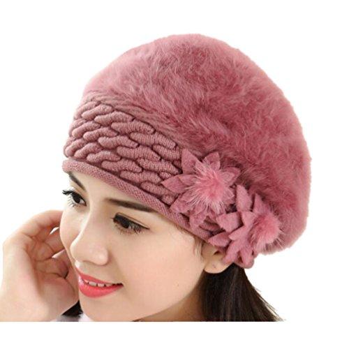 (Doodo Trendy Rabbit Fur Hats Winter Beret For Women Girl(#4))