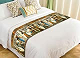 PicaqiuXzzz Custom African Design Bed Runner, Egyptian Queen Ancient Bed Runners And Scarves Bed Decoration 20x95 inch