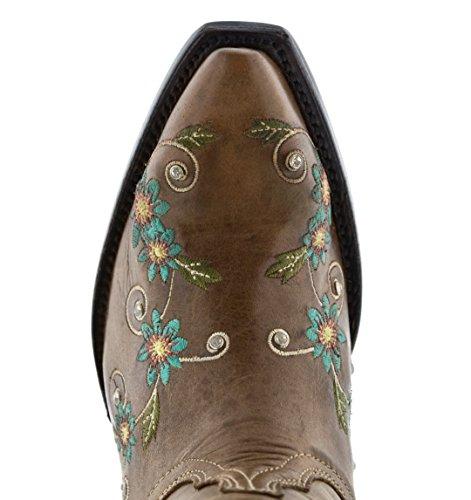 Gyllene Vapen - Womens Honung Ljusbruna Blommor Broderade Läder Cowboy Cowgirl Stövlar Klipp Tå Ljusbrun