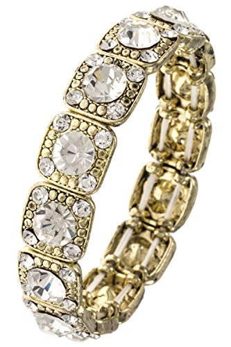 GlitZ Finery Crystal Square Framed Link Detailed Evening Stretch Bracelet (Gold/Clear)