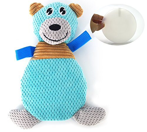coubon Few stuffing Plush Squeaky Dog Toys Pot-bellied Bear(blue (Pot Belly Dogs)