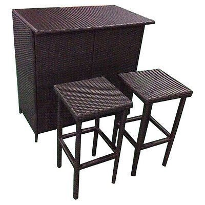 3PCS Rattan Wicker Bar Set Patio Outdoor Table & 2 Stools Furniture (Furniture Ebay Bar)