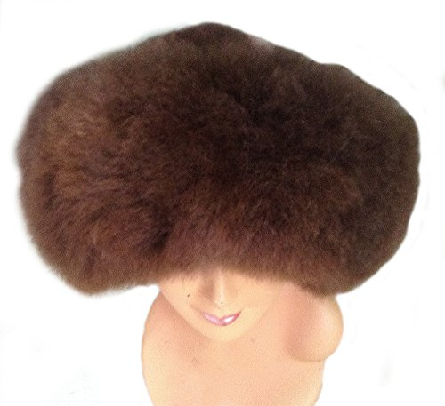 Fur Satin Hat (Alpakaandmore Womens Baby Alpaca Wide Brim Fur Mongolian Hat Satin Lined Russian Hat (Large, Dark Brown))