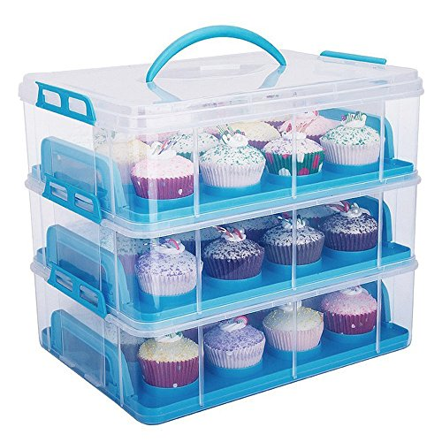 MineDecor 36 Cupcake Carrier 3 Tier Stackable Cake Container Muffins Cookies Storage Box Takeout Container with Lock Lid and Handle for Birthday Wedding Party Picnic Blue