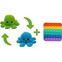 Polvo Reversível Humor Bravo Feliz Azul Verde + Fidget Push Pop It Quadrado Colorido, brinquedos sensoriais Pop Its…
