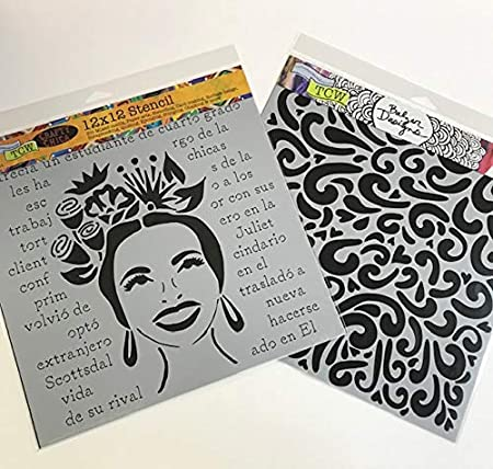 Crafters Workshop Stencil 2 Pack TCW156 Cosmic Swirl and TCW424 Mod Spiral Reusable Stenciling Templates for Art Journaling Mixed Media and Scrapbooking 6 inch x 6 inch