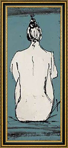 "Framed Canvas Print Wall Art Nude Sketch on Blue II by Patricia Pinto - 8"" x 20"" Ready to Hang"