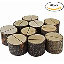Bantoye 20 Pcs Rustic Wood Base Clip Holder DIY Table Name Number Card Holder Picture Memo Note Photo Message Clip for Christmas Party Wedding Table Name