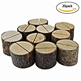 wood base - Bantoye 20 Pcs Rustic Wood Base Clip Holder DIY Table Name Number Card Holder Picture Memo Note Photo Message Clip for Christmas Party Wedding Table Name