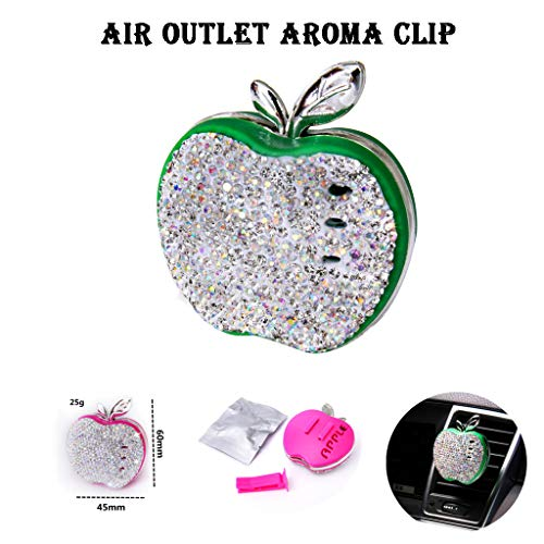 Haluoo Car Essential Oil Diffuser Vent Clip, Rhinestone Apple Shape Car Aromatherapy Essential Oil Diffuser Plastic Aroma Therapy Car Perfume Car Solid Fragrance Locket (Green)