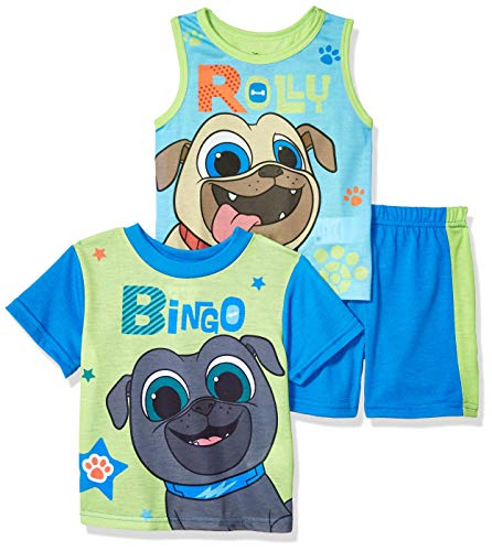 Disney Boys' Toddler Puppy Dog Pals 3-Piece Pajama Set, Silly Blue, - Boys Toddler Puppy