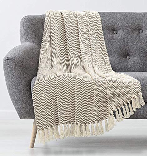 Americanflat Zaina Camel and Beige Herringbone Cotton Blanket Throw with Fringe - 50x60 Inches