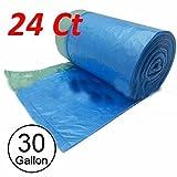 24 Ct 30 Gallon Can Bottle Recycling Drawstring Large Trash Bag Garbage (Blue)