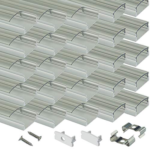 Muzata LED Channel System with Crystal Transparent Diffuser Clear Cover Lens,Aluminum Extrusion Track Housing Profile for Strip Tape Light,20Pack 3.3ft/1M U Shape with Video U1ST,Series LU1