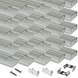 Muzata LED Channel System with Crystal Transparent Diffuser Clear Cover Lens,Silver Aluminum Extrusion Track Housing Profile for Strip Tape Light,20Pack 3.3ft/1M U Shape U1ST Series LU1 LH1