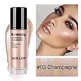 Liquid Highlighter, LEEGOAL Waterproof Smooth Shimmer Face Body Glow Liquid Highlighter, Illuminator Makeup for Face Lip Body Contour Makeup