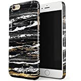 BURGA iPhone 6 / 6s Case, Black And Gold Onyx Marble Golden Stone Thin Design Durable Hard Shell Plastic Protective Case For Apple iPhone 6 / 6s