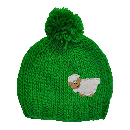 (Traditional Craft Knitted Beanie Hat For Kids With Bobble and Embroidered Sheep, Green Colour)