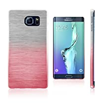 Xcessor Transition Color Flexible TPU Case for Samsung Galaxy S6 edge+ SM-G928A. With Gradient Silk Thread Texture. Transparent / Pink