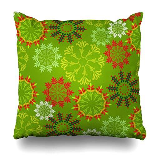 - HugeDecor Throw Pillow Cover Mandala Pattern Flower Abstract Christmas Frozen Modern Arabesque Cold Crystal December Design Decorative Pillow Case 16x16 Inches Square Home Decor Pillowcase
