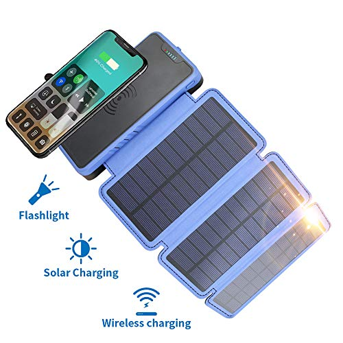 20000mAh Portable Solar Power Bank, Elzle Qi Wireless Charger with 3 Solar Panels, Flashlight, Dual 5V/2.1A USB Ports Waterproof External Battery Pack Compatible with Smartphones, Tablets, etc.