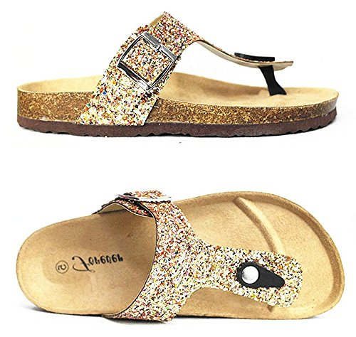 (Forever Link SF BIRKEN Womens Glitter Thong Slip On Casual Slide Flip Flop Sandals (5, Gold-17))