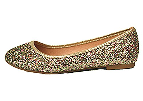 Link Flat Classic Gold 29 Shoes Slip Women's 29 Karra On SF Ballet Glitter gdqFg