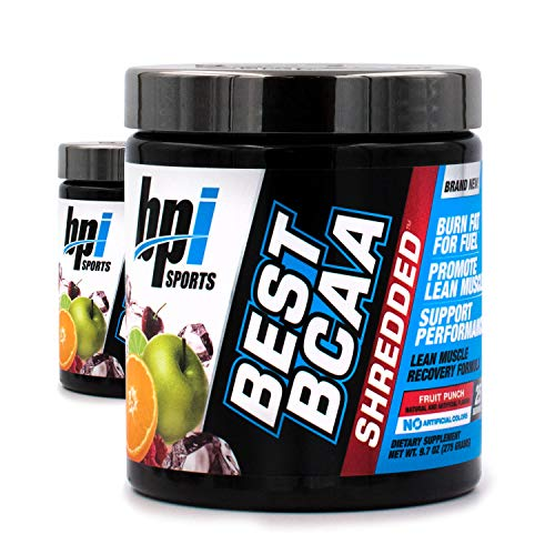 BPI Sports Best BCAA Shredded Fruit Punch (2 Pack) Caffeine Free Thermogenic Recovery Formula for Lean Muscle Growth (25 Servings) (Bpi Best Bcaa Shredded)
