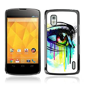 YOYOSHOP [Colorful Eye Illustration ] Custodia Case Cover per LG Google Nexus 4