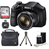 Sony DSCH300/B Digital Camera (Black) Bundle with High Speed 16GB High Speed Card, SD Card Reader, Table Top Tripod, Padded Case, Lens Cleaning Kit
