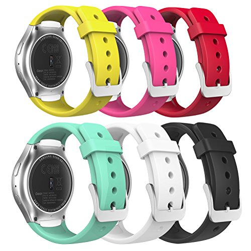 MoKo Watch Band Compatible with Gear S2, [6-Pack] Soft Silicone Replacement Sport Band Fit Samsung Gear S2 (S2 SM-R720/SM-R730 ONLY) Smart Watch - Multi Colors