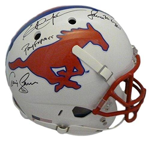 Pony Express Autographed SMU Mustangs Replica Helmet JSA Dickerson/James/McIllhenney (Smu Replica Mustangs)
