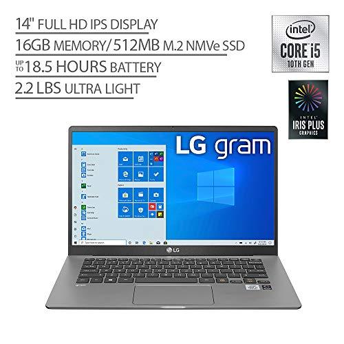 "LG Gram Laptop - 14"" Full HD IPS Display, Intel 10th Gen Core i7-1065G7 CPU, 16GB RAM, 512GB M.2 MVMe SSD, Thunderbolt 3, 18.5 Hour Battery Life - 14Z90N (2020)"