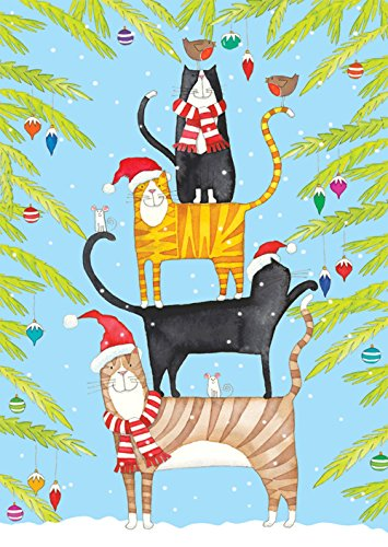 entertaining with caspari christmas cat tower christmas cards box of 16 - Caspari Christmas Cards