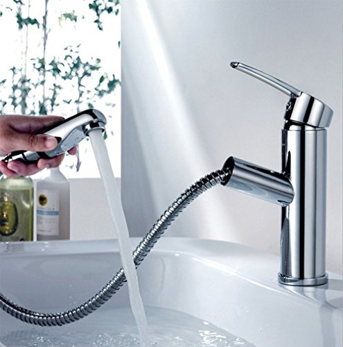 Kitchen Tap Pull Out Faucet Sink Basin Mixer Taps Single Lever With Standard Connector by WWQY