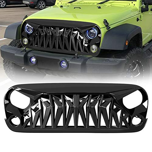 ICARS Front Glossy Black Shark Grille for 2007-2018 Jeep Wrangler JK JKU Unlimited Rubicon Sahara, ABS