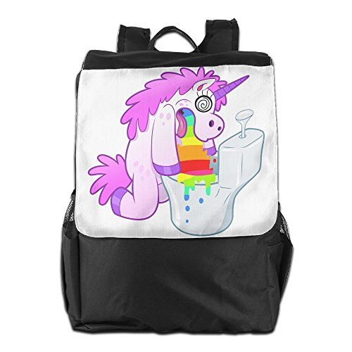 Bear Carrying On Shoulders Costume (Olasy Unicorn Pukes Rainbow In The Toilet Messenger Bag Shoulder Backpack Travel Hiking Rucksack For Womens Mens Boys Girls School Bookbags One Size)