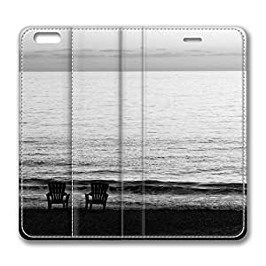 iPhone 6 Leather Case, Personalized Protective Flip Case Cover Beach Chairs On The Beach for New iPhone 6